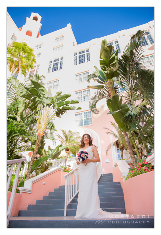 Wedding photography outside of the Don CeSar Hotel in St. Pete beach, Florida.