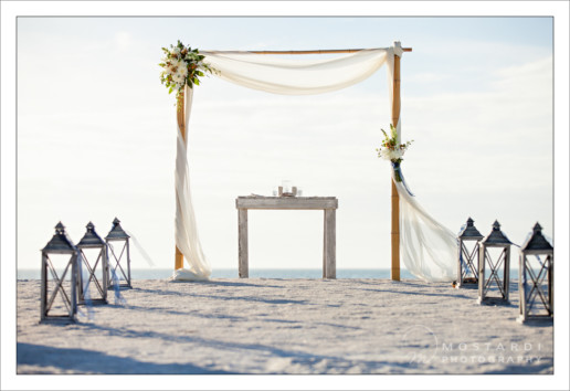 Wedding altar on Pass-A-Grille Beach in St. Pete Beach, Florida.